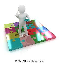 3d people - missing piece - jigsaw. 3d render. The concept of niche on a white background