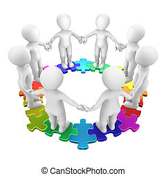 3d people on colored circle puzzle