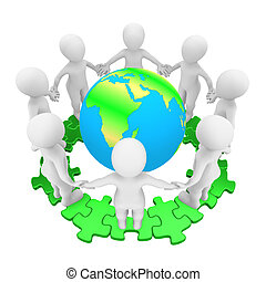 3d people on green puzzle and Earth