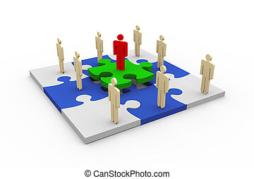 3d people on puzzle