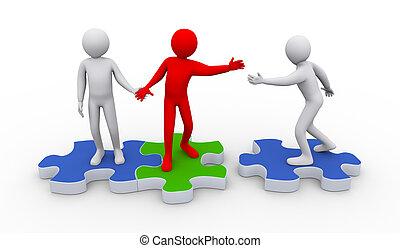 3d people on puzzle piece - teamwork concept