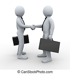 3d Illustration of businessman shaking hands with his business partner. 3d rendering of human businessman character