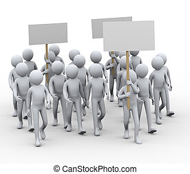 3d people protest strike - 3d illustration of people with...