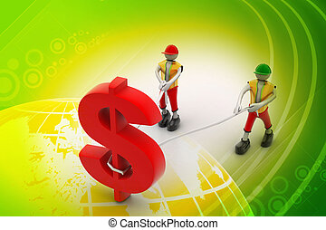 3d people pulling dollar symbol with a rope