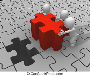 3d people push red puzzle piece