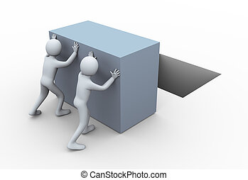 3d people pushing cube