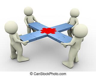3d people puzzle teamwork