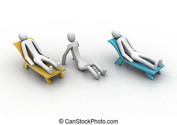 3d people resting