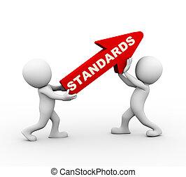 3d people rising standards red arrow - 3d rendering of...