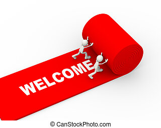 3d people rolling red welcome carpet - 3d illustration of ...