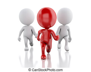 3d people running with a red leader. Leader concept