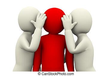 3d people secret whisper - 3d illustration of men secret...