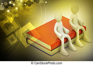 3d people sitting on the books