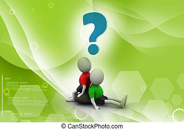 3d people sitting with question mark isolated over white background