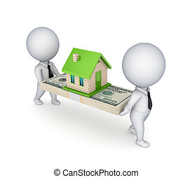 3d people, small house and dollar pack. Isolated on white ...