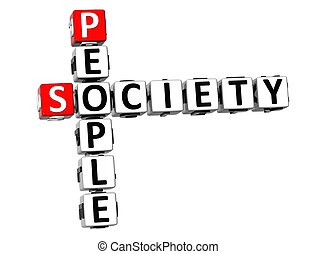 3D People Society Crossword on white background