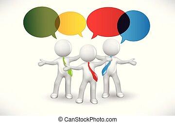 3D People speech commentary symbol logo