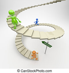 3D People Stairs to Success