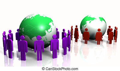 3D people standing around world - 3D Bright-colored people...