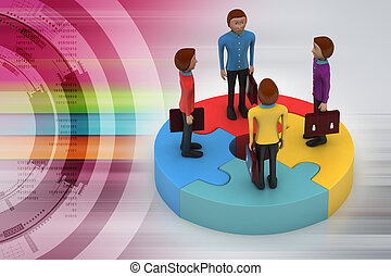 3d people standing on puzzles