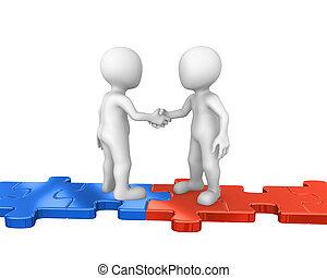 3d people standing on puzzles, handshake