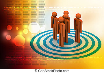 3d people standing on the dart board