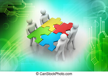 3d people - team with the puzzles i