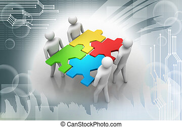 3d people - team with the puzzles