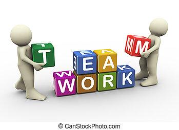 3d people team work - 3d render men placing team work text...
