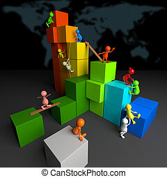 3D People Teamwork with Colorful Blocks