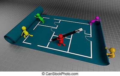 3D People Teamwork, Working on Floor Plan