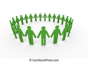 3d people together in circle