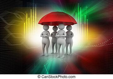 3d people under a red umbrella, team work concept