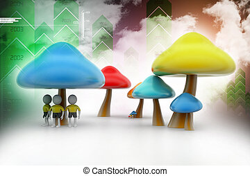 3d people under the mushrooms