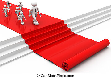 3d people walking on red carpet. right way for success