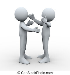3d people welcome hug - 3d Illustration of man huging each...