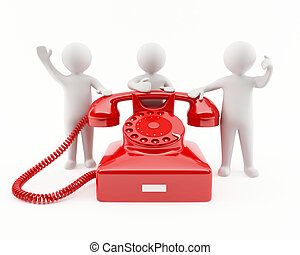 3D people with a red telephone - 3D people with a giant red...