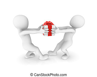 3d people with big gift box.