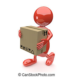 3D People with Cardboard box in Hands