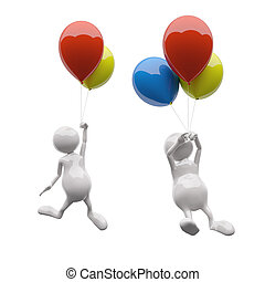 3D People with colorful balloons on white background