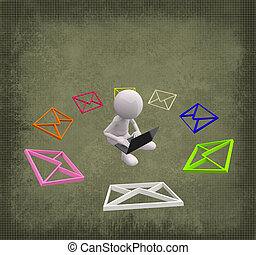 3D People with colorful Mail on Grunge Background