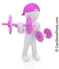 3d people with dumbbells on a white background
