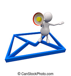 3D People with Email Icon