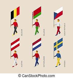 3d people with flags Belgium, Belarus, Czech, Austria, Netherlands, Sweden