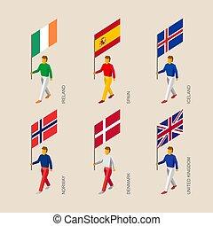 3d people with flags Denmark, UK, Spain, Norway, Ireland,...