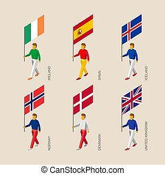 3d people with flags Denmark, UK, Spain, Norway, Ireland, Iceland.