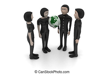 3d people with globe