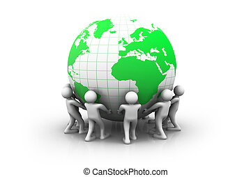3d people with green world globe