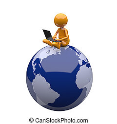 3D People with Laptop and Earth Globe