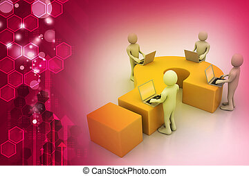3d people with laptop and question mark